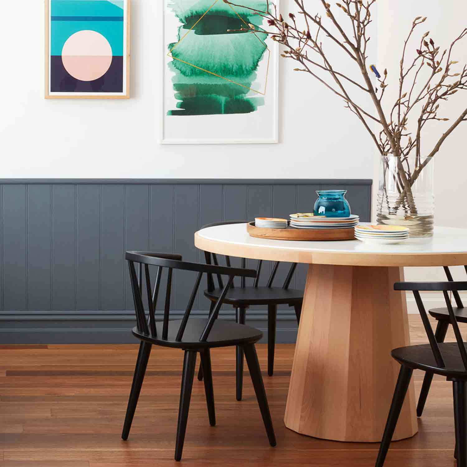 Silva Ridge Byron Bay Spotted Gum dining room with grey wall panel