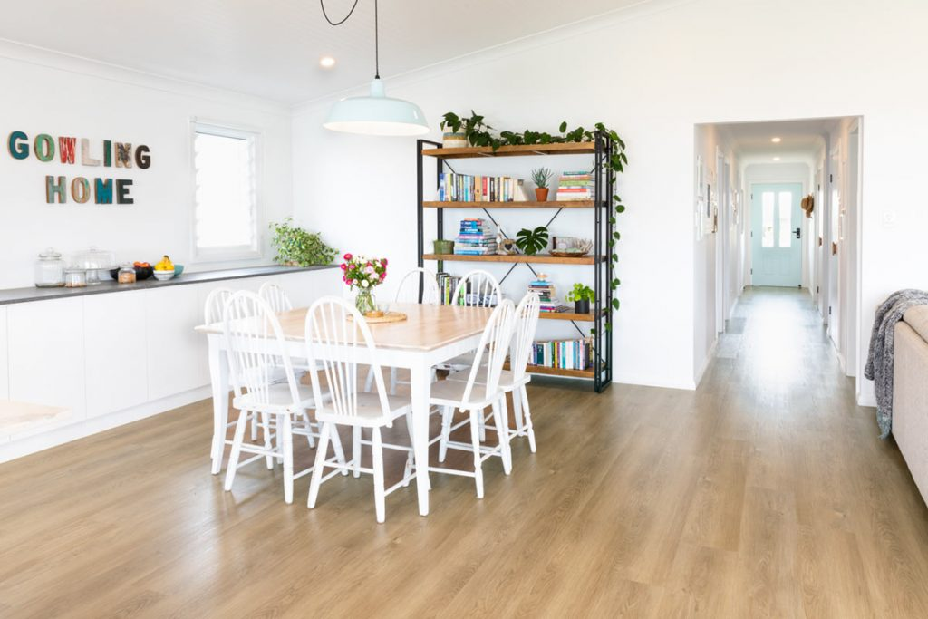 coastal cottage project showing the dining area and floors