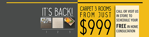 Flooring Xtra's Carpet 3 rooms from just $999 offer