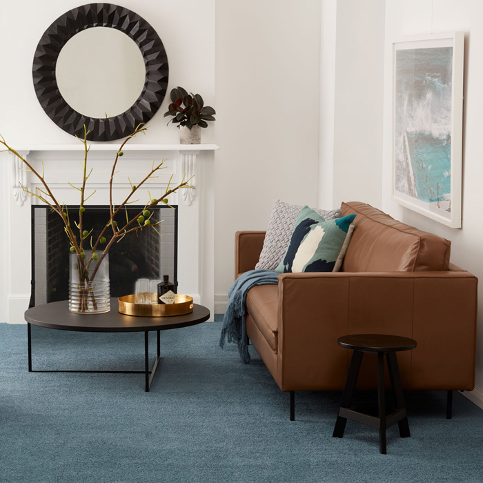 Eco+ Aegean Isle colour Keros living room with fireplace