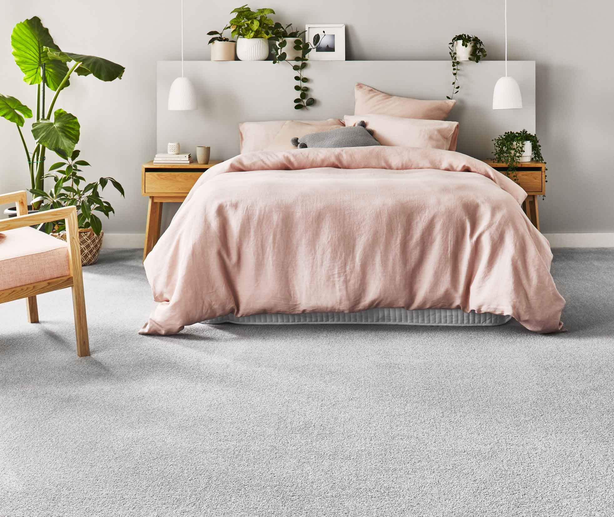 Andros carpet flooring swatch in village path - lifestyle bedroom