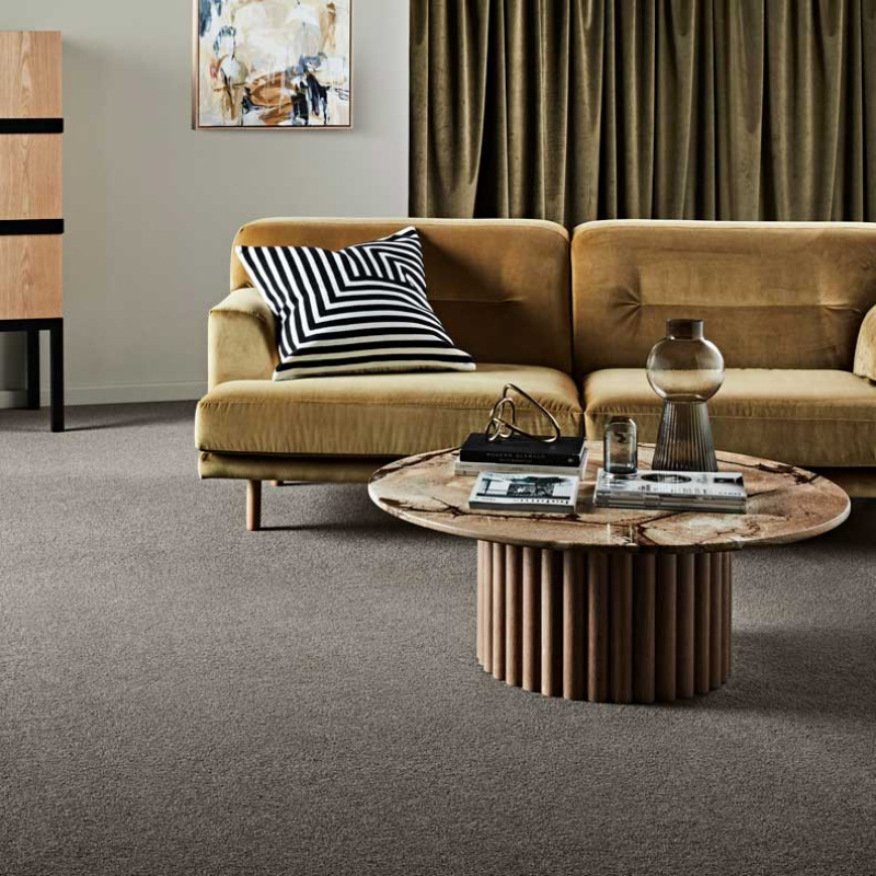 Canterbury Fields Carpet - loungeroom with couch in colour Ash